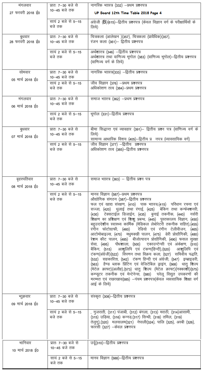UP Board 12th Time Table 2018 Page 4