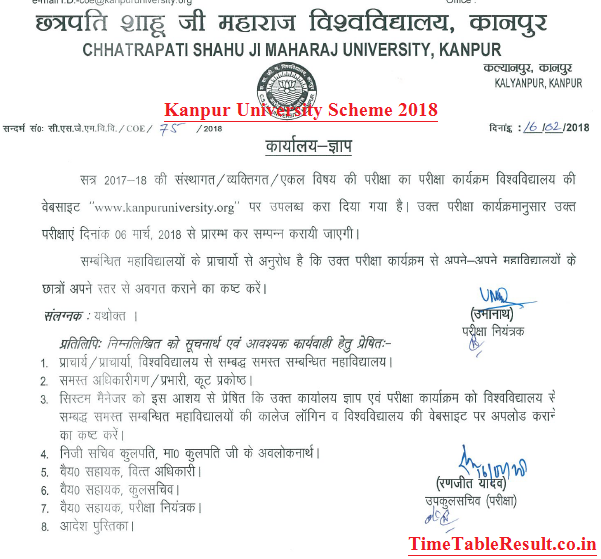 Kanpur University Time Table 2019