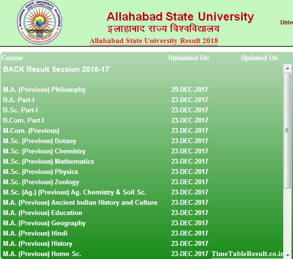 Allahabad State University Result 2018