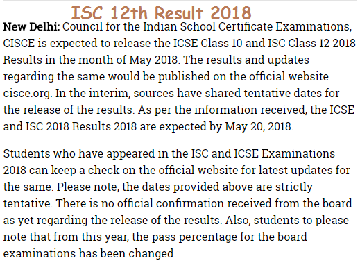 ISC 12th Result 2018