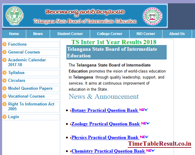 S Inter 1st Year Results 2018 Manabadi