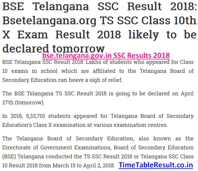 bse.telangana.gov.in SSC Results 2018