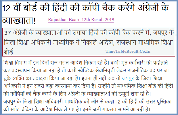 Rajasthan Board 12th Result 2019