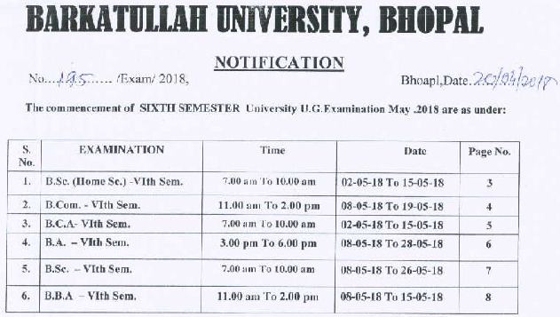 bhopal university time table 2019