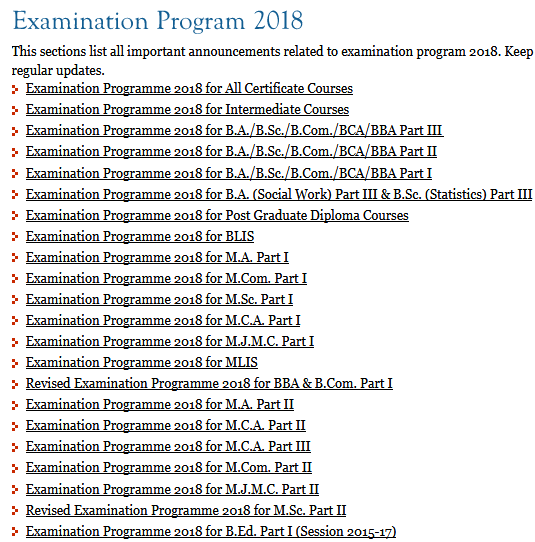 nou patna exam program 2019