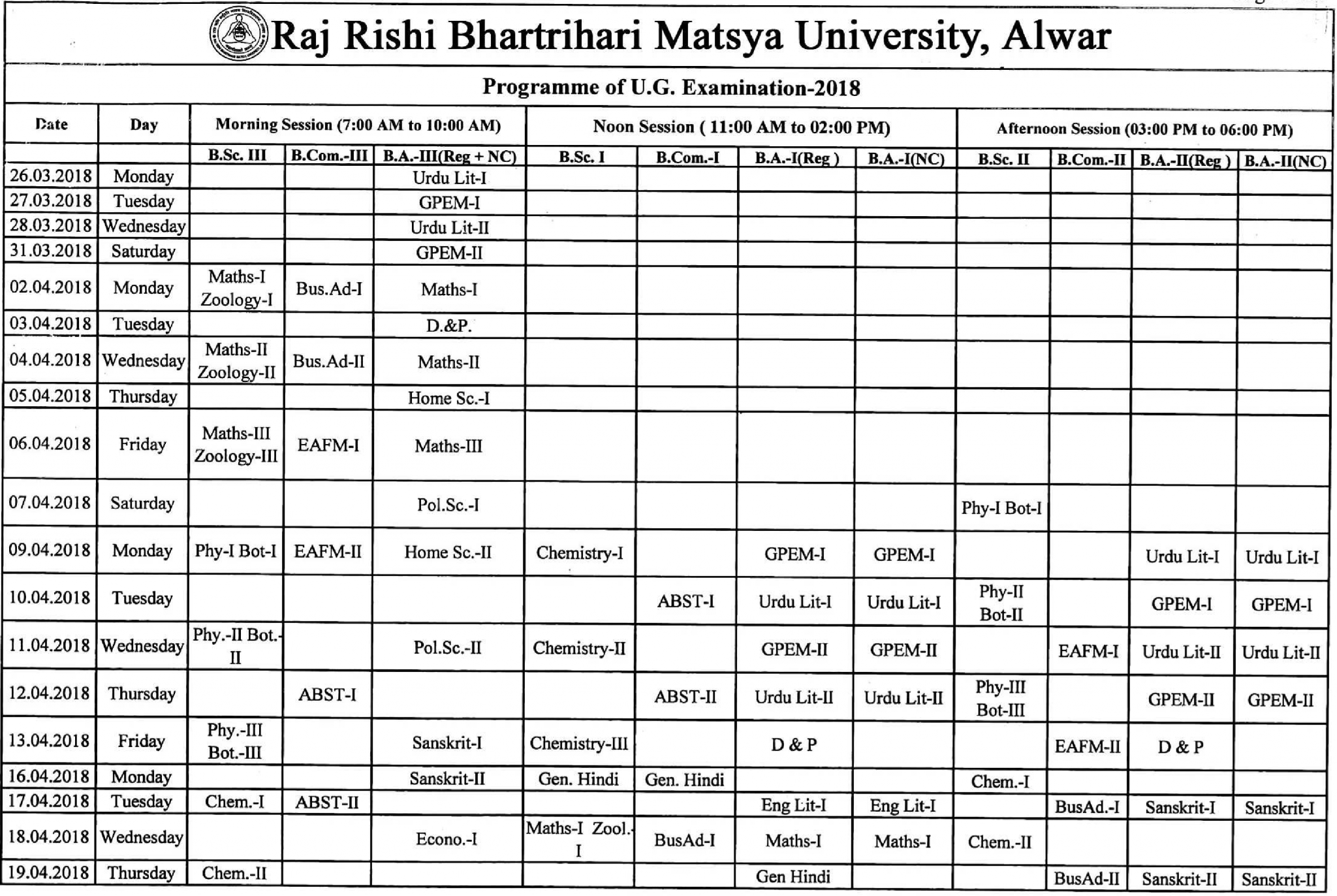 rrbmu time table 2019